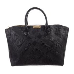 BURBERRY Grained Leather Handle Bag